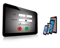 Login and  tablet. Composition which shows a tablet screen which displays the login screen with a password Royalty Free Stock Image