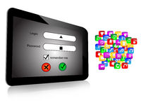 Login and  tablet. Composition which shows a tablet screen which displays the login screen with a password Royalty Free Stock Images
