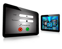 Login and  tablet. Composition which shows a tablet screen which displays the login screen with a password Stock Image
