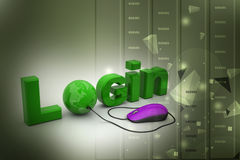 Login text connect with computer mouse Royalty Free Stock Images