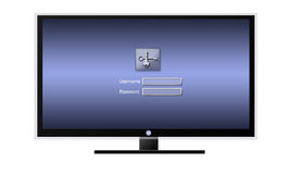Login in TV media. LCD TV with media to Login Royalty Free Stock Photography