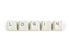 Login van verspreide toetsenbordsleutels op wit Stock Afbeeldingen