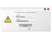 Login window design with alert Royalty Free Stock Photography