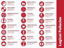 Logische Irrtümer Infographic-Ikonen stockfotografie