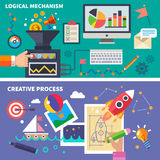 Logiskt och den idérika processen Arkivfoton