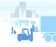 Logistic. Loading truck on forklift Royalty Free Stock Photos