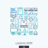 Logistic abstract background, integrated thin line symbols. Stock Image