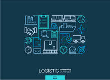 Logistic abstract background, integrated thin line symbols. Royalty Free Stock Photos