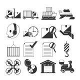 Logistic Black Icon Shipping Transport Vector Stock Images