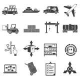 Logistic Black Icons Set Royalty Free Stock Photos