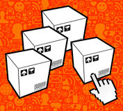 Logistic box icon. Shipping goods everywhere concept using social networks. Vector file layered for easy manipulation and custom coloring Stock Photos
