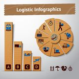 Logistic cardboard infographics elements Stock Images