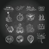 Logistic chalk board icons set Stock Photography