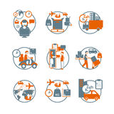 Logistic circle grey orange icons set. Logistic advanced international modern parcels delivery customer service concept circle stylized pictograms collection Stock Photography