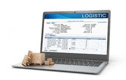 Logistic concept. Cardboard boxes on a notebook keyboard. 3d. Illustration Royalty Free Stock Photo