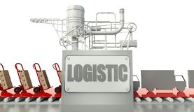 Logistic concept, cardboard boxes and trucks Stock Image