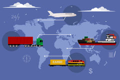 Logistic concept flat background Stock Images