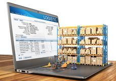 Logistic concept. Forklift with cardboard boxes on a notebook keyboard. 3d. Illustration Stock Photography