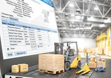 Logistic concept. Forklift with cardboard boxes on a notebook keyboard. 3d. Illustration Royalty Free Stock Photos