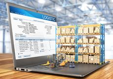 Logistic concept. Forklift with cardboard boxes on a notebook keyboard. 3d. Illustration Royalty Free Stock Images