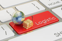 Logistic concept on red keyboard button, 3D rendering Stock Photography