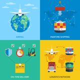 Logistic concept set. Logistic network airmail maritime shipping on-time delivery flat icons set isolated vector illustration Royalty Free Stock Photos