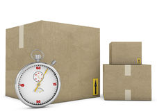 Logistic concept. Stopwatch and box on a white background Stock Photos