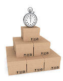 Logistic concept. Stopwatch and boxes Stock Images