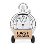 Logistic Concept. Stopwatch near Box with Fast Delivery Sign ove Royalty Free Stock Photo