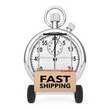 Logistic Concept. Stopwatch near Box with Fast Shipping Sign ove Royalty Free Stock Image