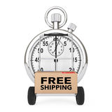 Logistic Concept. Stopwatch near Box with Free Shipping Sign ove Royalty Free Stock Image