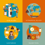 Logistic delivery concept 4 flat icons Stock Image