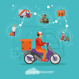 Logistic and delivery courier service concept banner.  Royalty Free Stock Image