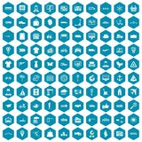 100 logistic and delivery icons sapphirine violet. 100 logistic and delivery icons set in sapphirine hexagon isolated vector illustration Royalty Free Stock Photo