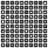 100 logistic and delivery icons set black. 100 logistic and delivery icons set in black color isolated vector illustration royalty free illustration
