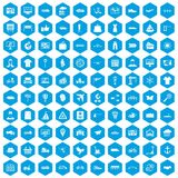 100 logistic and delivery icons set blue. 100 logistic and delivery icons set in blue hexagon isolated vector illustration Stock Images