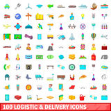 100 logistic and delivery icons set, cartoon style Stock Images