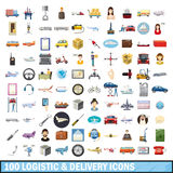 100 logistic and delivery icons set, cartoon style Stock Photos