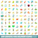 100 logistic and delivery icons set, cartoon style Royalty Free Stock Image