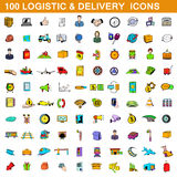 100 logistic and delivery icons set, cartoon style Stock Photography