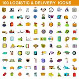 100 logistic and delivery icons set, cartoon style. 100 logistic and delivery icons set in cartoon style for any design illustration vector illustration