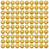 100 logistic and delivery icons set gold. 100 logistic and delivery icons set in gold circle isolated on white vector illustration Royalty Free Stock Image