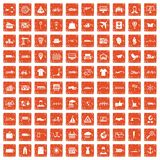 100 logistic and delivery icons set grunge orange. 100 logistic and delivery icons set in grunge style orange color isolated on white background vector vector illustration