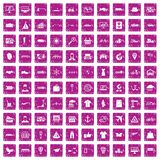 100 logistic and delivery icons set grunge pink. 100 logistic and delivery icons set in grunge style pink color isolated on white background vector illustration vector illustration