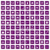 100 logistic and delivery icons set grunge purple. 100 logistic and delivery icons set in grunge style purple color isolated on white background vector Stock Photo