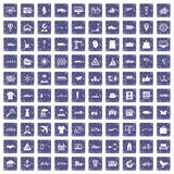 100 logistic and delivery icons set grunge sapphire. 100 logistic and delivery icons set in grunge style sapphire color isolated on white background vector stock illustration