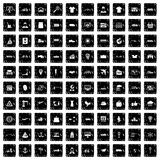100 logistic and delivery icons set, grunge style Royalty Free Stock Photos
