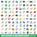 100 logistic delivery icons set, isometric style Stock Image