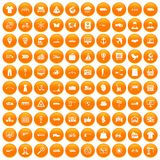100 logistic and delivery icons set orange. 100 logistic and delivery icons set in orange circle isolated on white vector illustration royalty free illustration