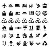 Logistic delivery packing sign and transportation industry icons. Logistic delivery packing sign and transportation industry packing icons. Packing and keep Stock Photography